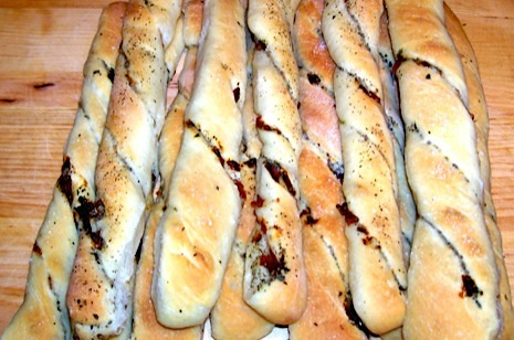 Pile of Sun-dried Tomato Basil Breadsticks