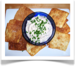 Smoked Salmon Dip with Fried Wonton Wrappers